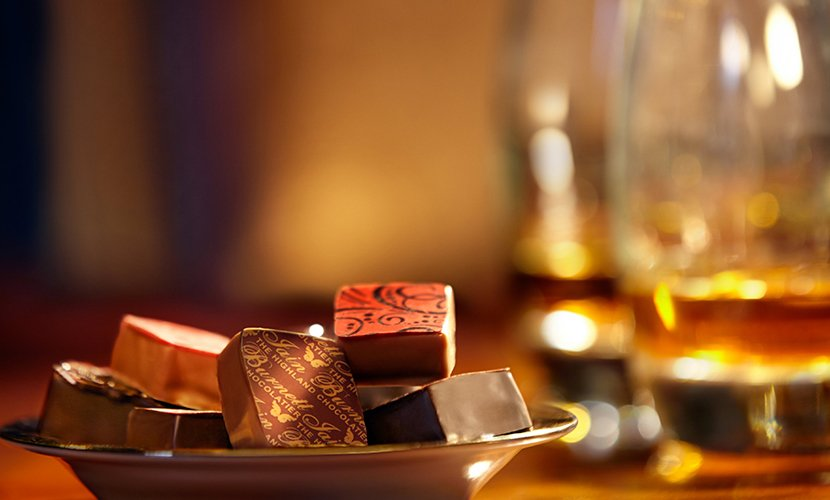 Whisky companion chocolates from Iain Burnett, Highland Chocolatier