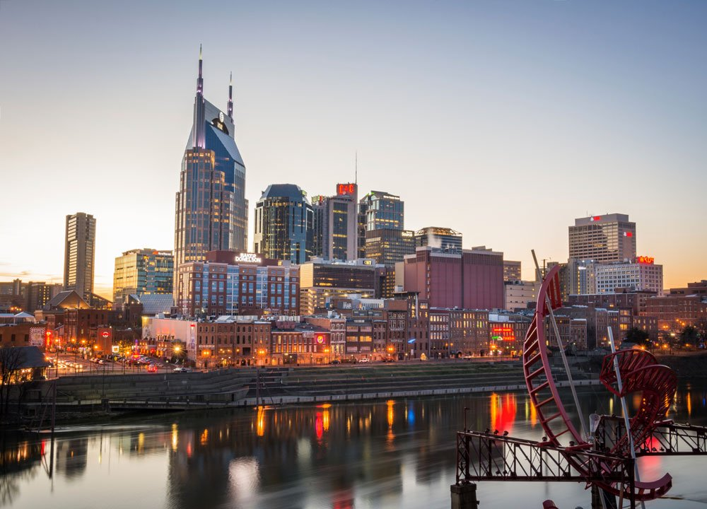 Nashville skyline at dusk