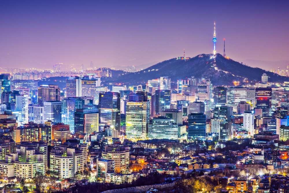 Seoul night time skyline