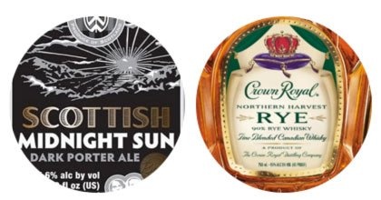 Williams Brothers Midnight Sun and Crown Royal Harvest Rye