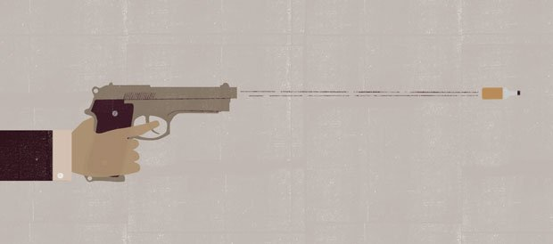 Illustration of a whisky bottle fired from a pistol