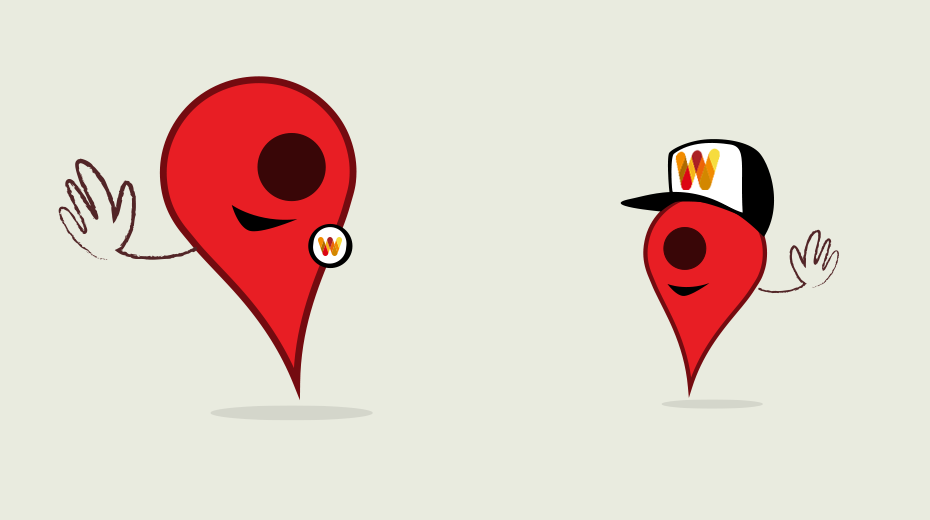 Map pins waving to greet each other