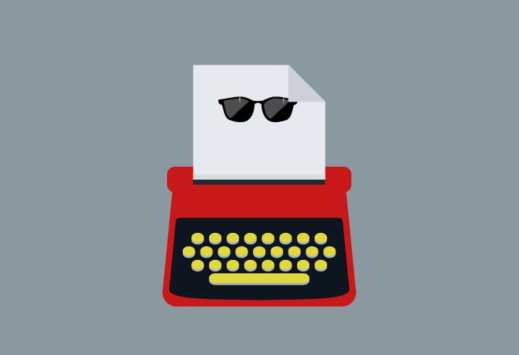 Illustration of a typewriter producing a page with a pair of sunglasses
