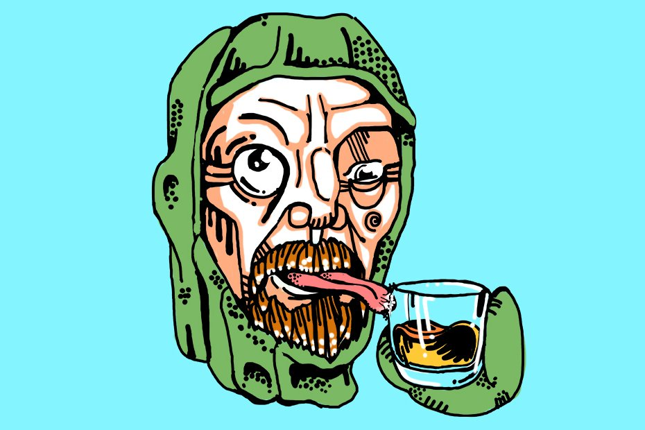 Illustration of Ernest Shackleton drinking whisky