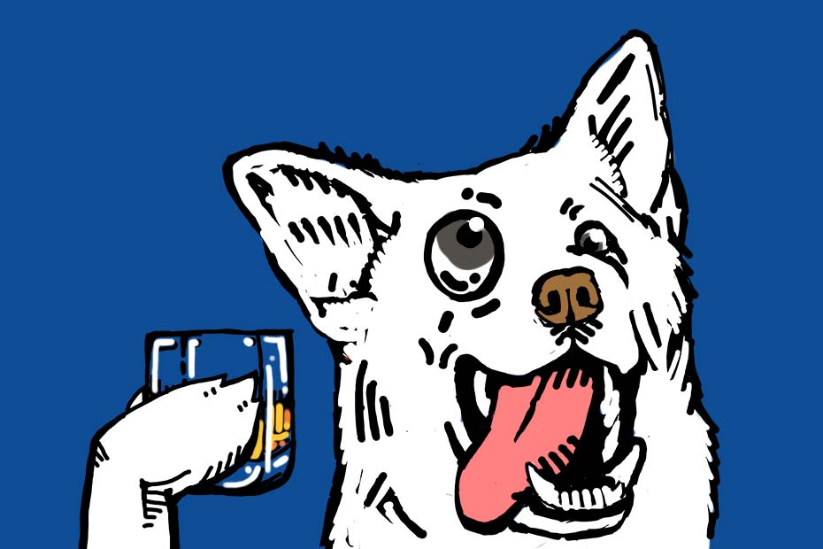 Illustration of a dog raising a glass of whisky