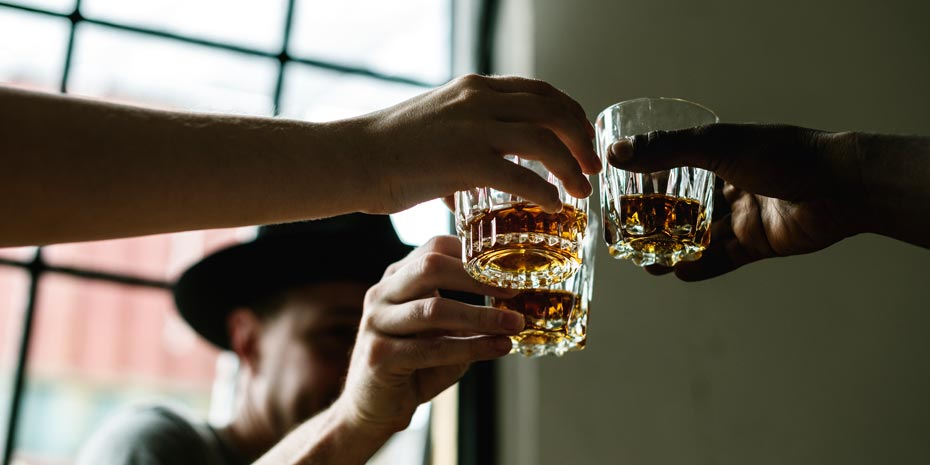 Toasting with whisky
