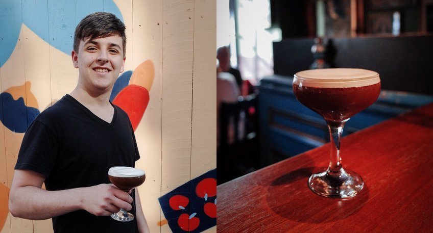 Bartender Luke with his creation the Nospresso Martini