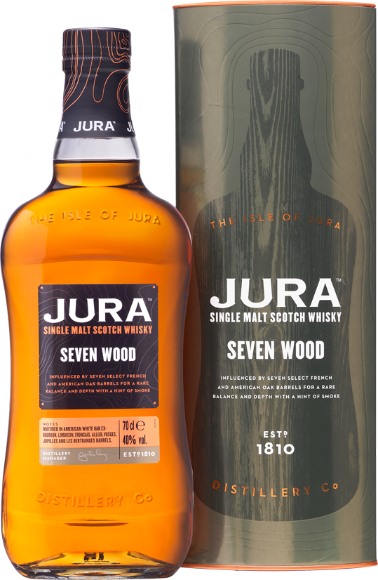 Jura Seven Wood bottle and box
