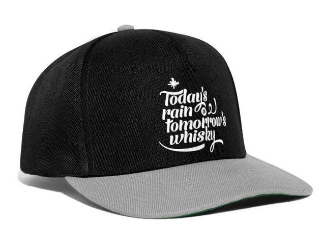 snap back cap with the quote todays rain is tomorrows whisky