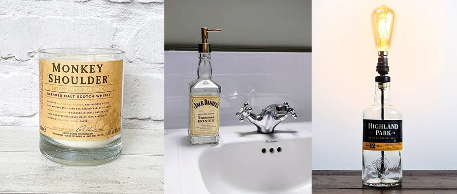 Repurposed whisky bottles, a candle, soap dispenser and lamp
